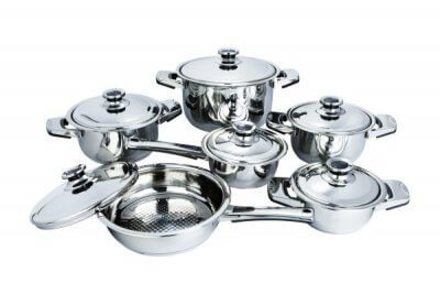 SC-1202 12 PCS Wide Edge Stainless Steel Cookware Sets