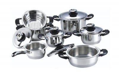 SC-1205 12 PCS Wide Edge Stainless Steel Cookware Sets