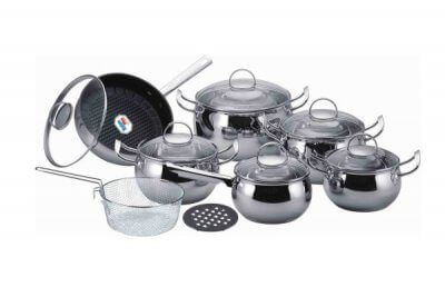 SC-1573 14 PCS Apple Shape Stainless Steel Cookware Set