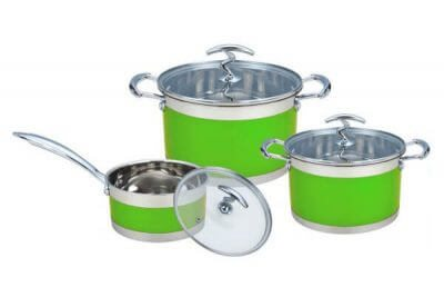 SC-0675C 6 PCS Straight Shape Stainless Steel Cookware Set