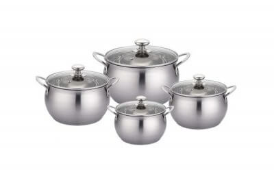 SC-0857 8 PCS Apple Shape Stainless Steel Cookware Set