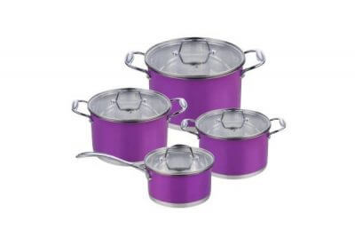 SC-0864C 8 PCS Straight Shape Stainless Steel Cookware Set