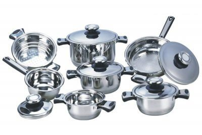 SC-1215 12 PCS Wide Edge Stainless Steel Cookware Sets