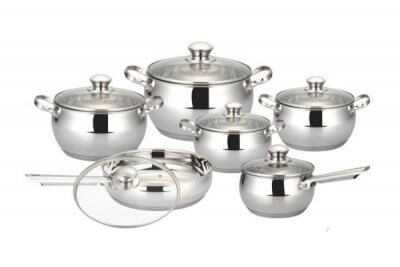 SC-1264 12 PCS Apple Shape Stainless Steel Cookware Set