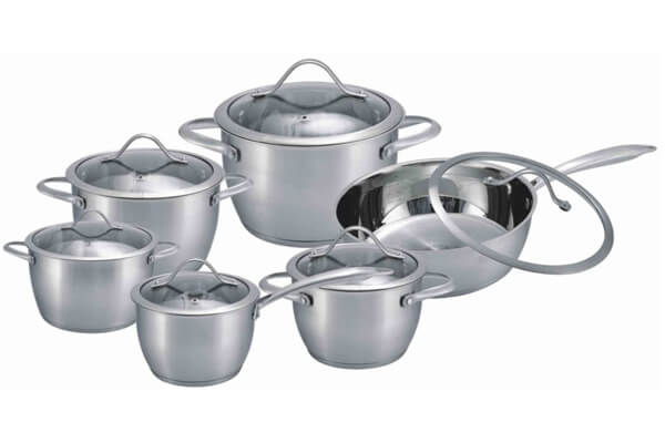 SC-1284 12 PCS Conical Shape Stainless Steel Cookware Set