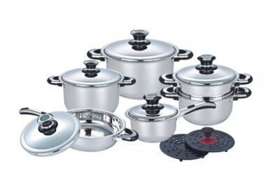 SC-1410 14 PCS Wide Edge Stainless Steel Cookware Sets