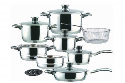 SC-1502 15 PCS Wide Edge Stainless Steel Cookware Sets