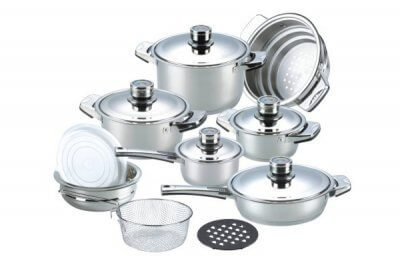 SC-1604 16 PCS Wide Edge Stainless Steel Cookware Sets