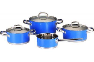 SC-0745C 7 PCS Straight Shape Stainless Steel Cookware Set,Blue
