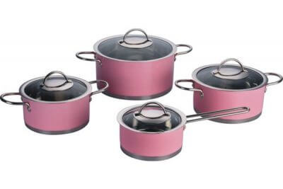 SC-0855C 8 PCS Straight Shape Stainless Steel Cookware Set