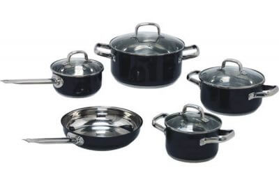 SC-0944C 9 PCS Belly Shape Stainless Steel Cookware Set