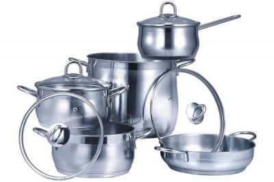 SC-0985 9 PCS Belly Shape Stainless Steel Cookware Set