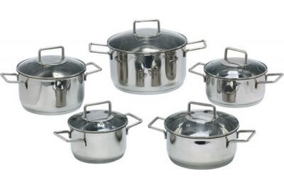 SC-1021 10 PCS Straight Shape Stainless Steel Cookware Set