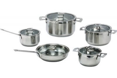 SC-1022 10 PCS Belly Shape Stainless Steel Cookware Set